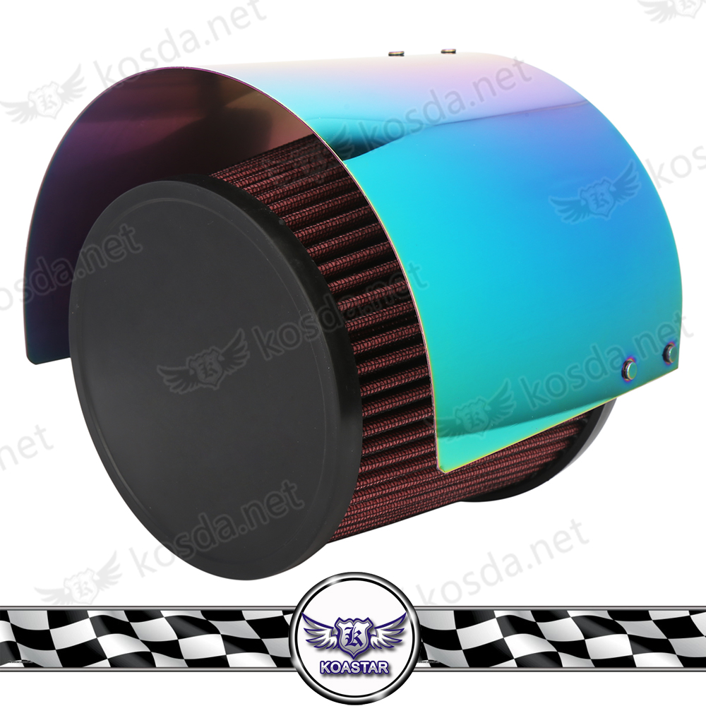 Stainless Steel Neochrome Racing Car Cold Air Intake Cone Sport Air Filter Cover Heat Shield For 2.5''-5'' Neck cnspeed air intake pipe kit for ford mustang 1989 1993 5 0l v8 cold air intake induction kits with 3 5 air filter yc100689