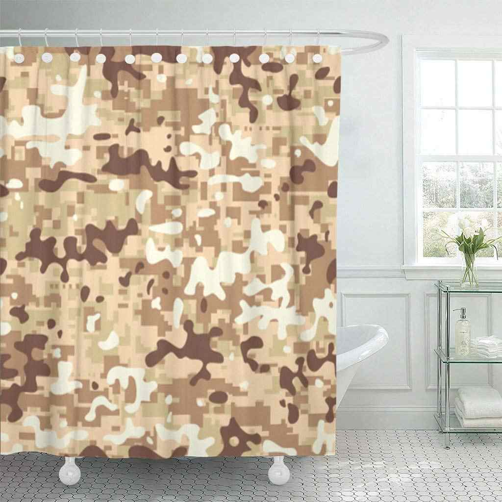 Shower Curtain with Hooks Yellow Mirage Modern Digital Desert Camo Pattern Blue Anit War Baby Battledress Cadpat Bathroom Decor