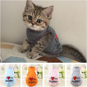 "Pet Clothes ""I Love Mommy"" Printed Dog Cat Clothing Tee Shirts Summer Breathable Cotton T-shirt for Kitten Cats Puppy Small Dogs(China)"