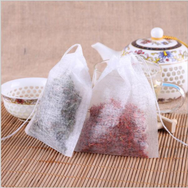 100 cái/lốc Teabags 5.5x7 CM Rỗng Thơm Túi Trà Với Chuỗi Chữa Lành Seal Lọc Giấy cho Herb Loose trà Bolsas de te