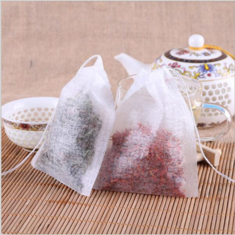 100Pcs/Lot Teabags 5.5 x 7CM Empty Scented Tea Bags With String Heal Seal Filter Paper for Herb Loose Tea Bolsas de te-in Tea Strainers from Home & Garden