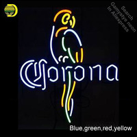 Corona Parrot Neon Light Sign GLASS Tube Handcraft Beer bar Pub Wall Light Signs lampara neon personalized Lamp neon light wall