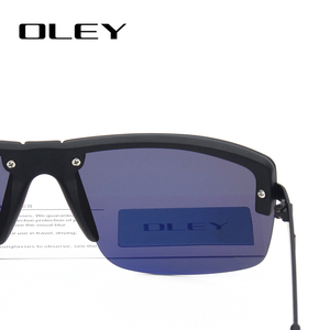 Image 4 - OLEY Fashion Mens Frameless Polarized Sunglasses Classic Pilot Goggles  UV400 Gafas De Sol  Y4909 Support custom LOGO