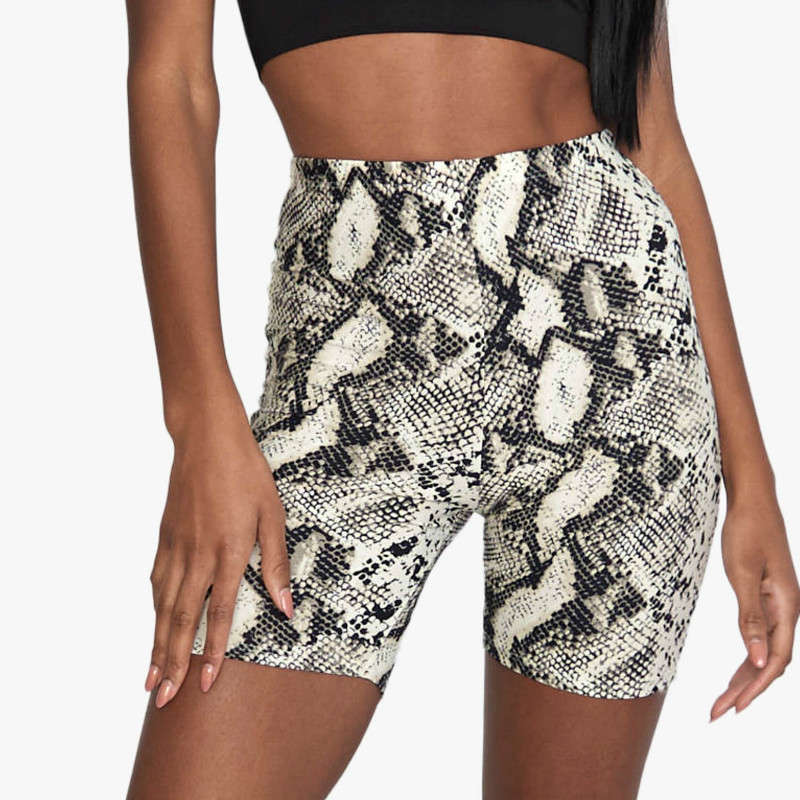Casual Cycling Snake Skin Print Skinny Short Legging Summer Women Pants Trousers