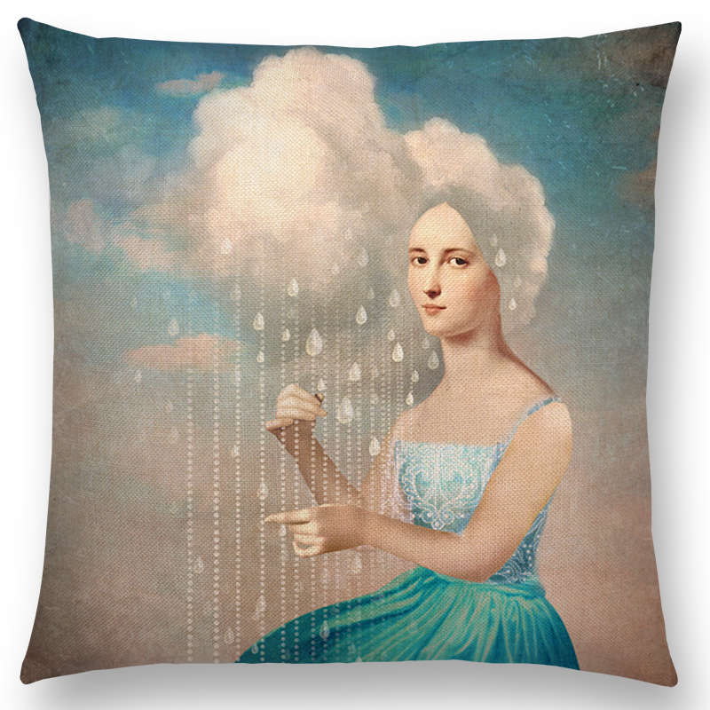 TBONTB Elegant Lady Beautiful Girl Shakespeare Style Oil Painting Moon Music Fairytale Flower Bird Cushion Cover Pillow Case