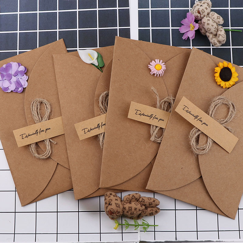 Vintage Dried Flowers Retro Paper Greeting Postcards Wishes&Envelope DIY Festival Greet Cards Gift Stationery School Supplies