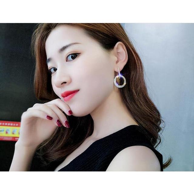 elegant crystal earrings gold silver color metal circle earrings round geometry drop earrings wedding party eardrop for woman 3