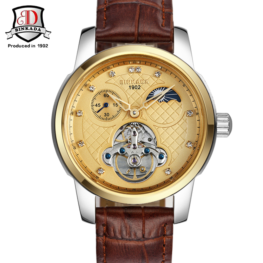цена на BINKADA Luxury Brand Mechanical Watch Men Fashion Skeleton Watch Leather Business Watches Hour erkek kol saati relogio masculino