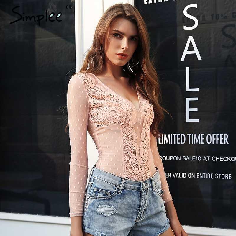 женское прозрачное белое боди Simplee, сексуальный кружевной облегающий комбинезон с V-образным вырезом с длинными рукавами, пляжный комбидресс для лета