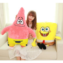 Hot Sponge Bob Kids Soft Stuffed Animals Plush Toys Baby Pillow Animal Cartoon Doll Cotton Cushion Christmas Gifts For Children(China)
