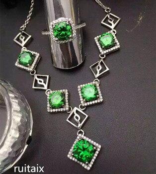 903dda6ae2fc KJJEAXCMY boutique joyas 925 Plata pura natural esmeraldas collar con  incrustaciones de joyería femenina cumpleaños gema