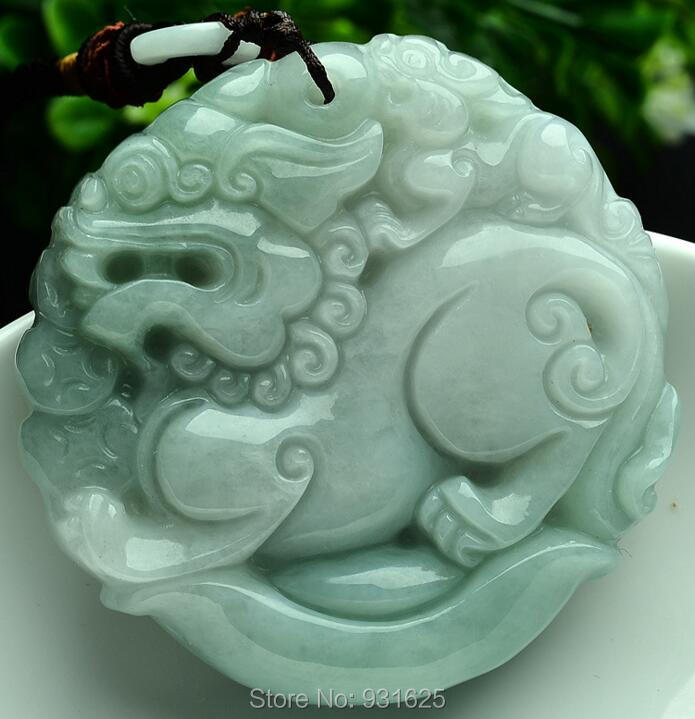 все цены на Grade A Natural Green Yu FeiCui Carved Chinese Dragon Kylin Lucky Amulet Pendant + Rope Necklace + certificate Fine Jewelry