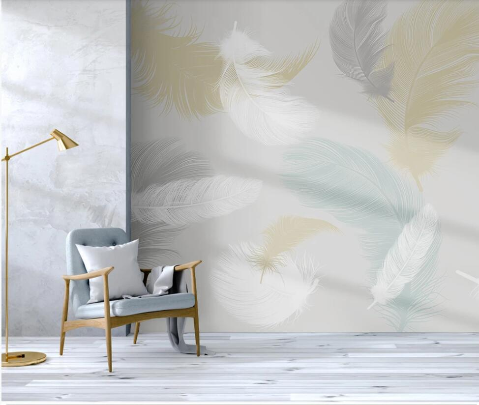 Custom wallpaper mural Nordic small fresh colored feather bedroom background wallpaper