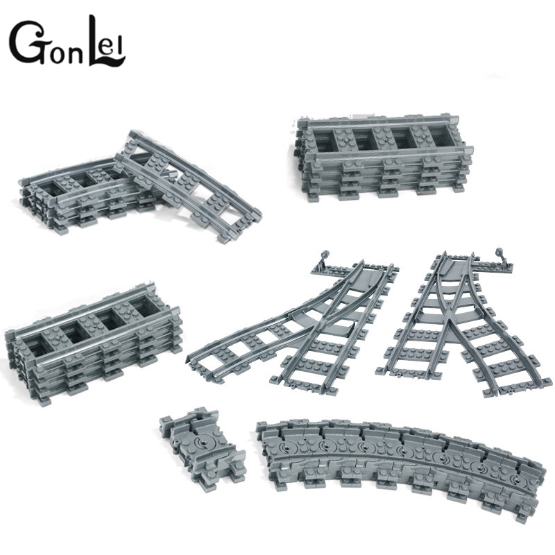GonLeI City Trains Train Flexible Track Rail Crossing Straight Curved Rails Building Blocks Bricks Kids Toys Compatible lepin Tr power trains набор с краном 48627