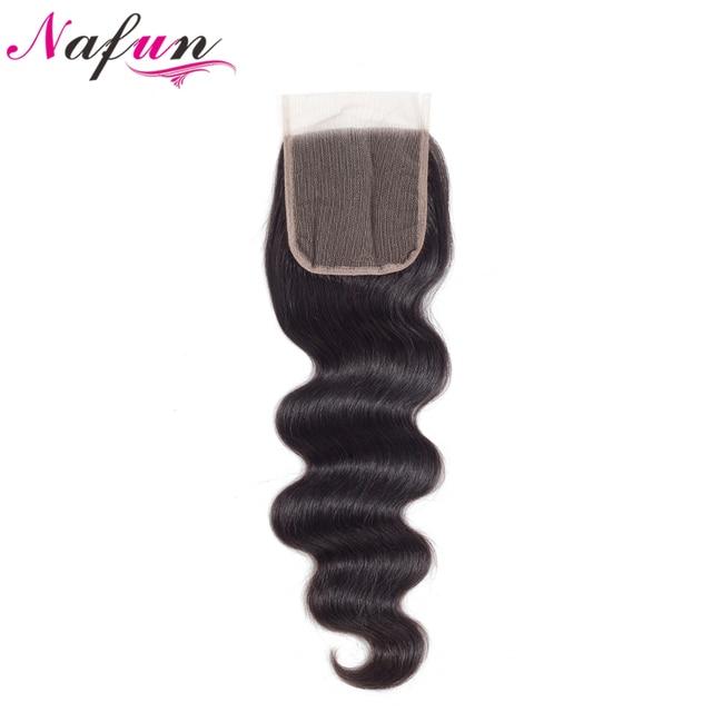 Cierre brasileño del pelo de NAFUN onda del cuerpo cierre del cordón del pelo humano cierre del cordón Color Natural no Remy 8-20 pulgadas envío Gratis