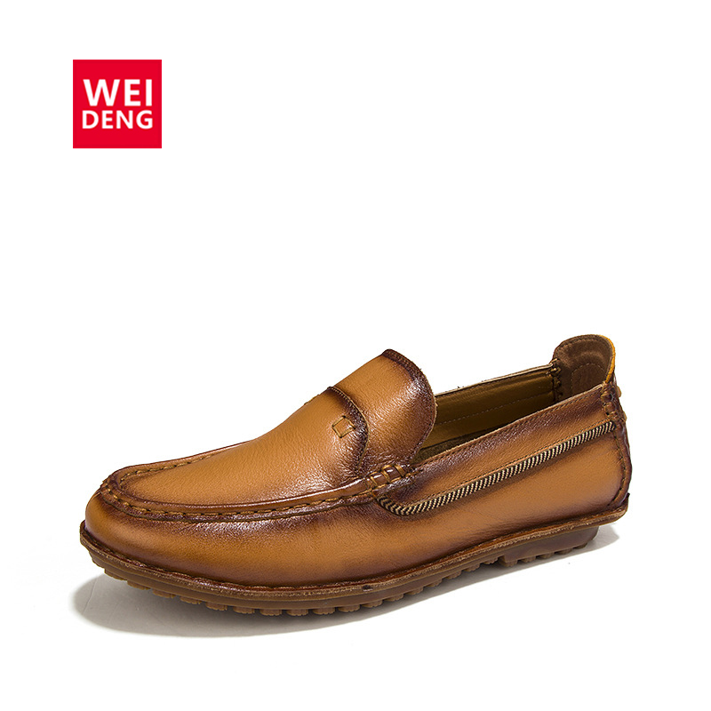 WeiDeng Retro Cow Genuine Leather Men Loafers Casual Driving Handmade Tenis Business Oxford Slip On Dress Shoes dxkzmcm new men flats cow genuine leather slip on casual shoes men loafers moccasins sapatos men oxfords