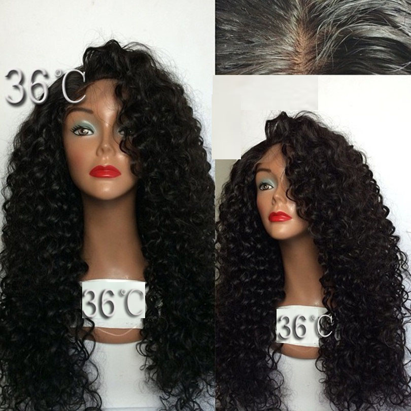 180 Density Long Kinky Curly Glueless Full Lace Wigs
