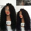 180 Density Long Kinky Curly Glueless Full Lace Wigs Virgin Hair Peruvian Deep Curly Hair Wig Full Lace Front Human Hair Wigs