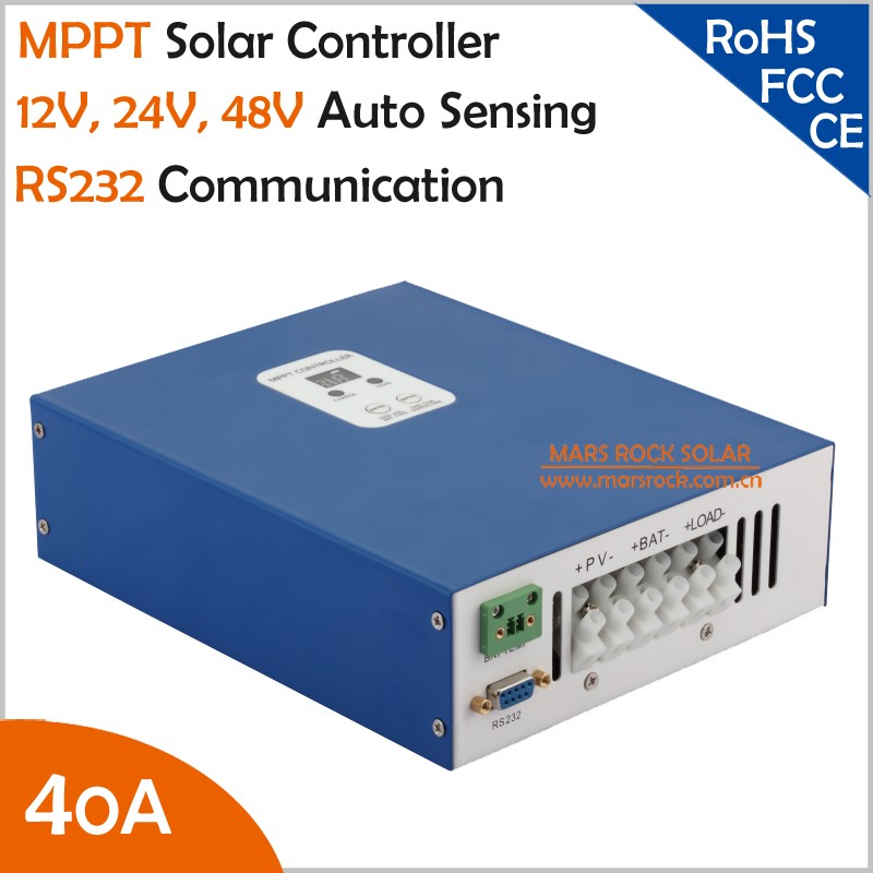 Ecnomical 40A MPPT solar charge controller 12V/24V/48V automatic recognition with RS232 communication port, Max. PV Input 100VDC mppt solar charge controller 48v 40a 12v 24v 48v auto work with rs232 lan dc load ctrl 40a 48v pv regulator easy
