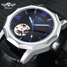 цена на WINNER Official Blue Automatic Watch Men Exotic Skeleton Dial Geometry Mechanical Fashion Casual Mens Watches Top Brand Luxury