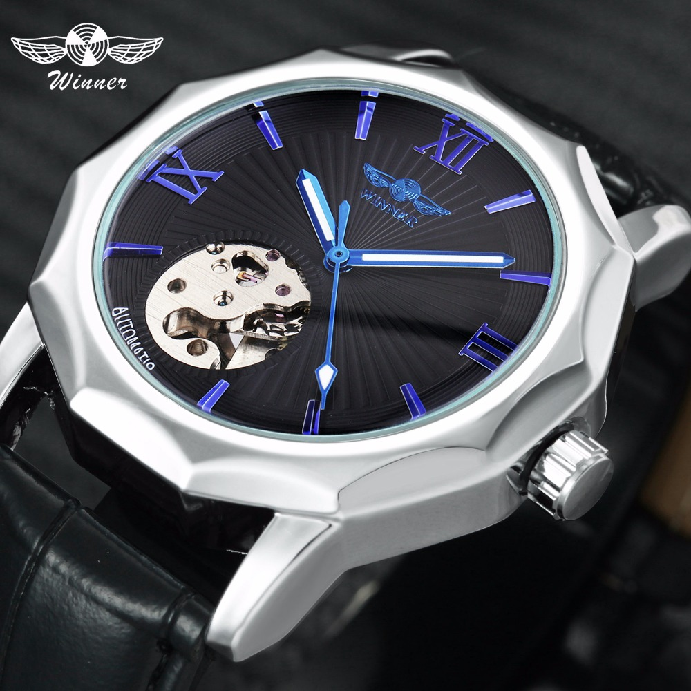 Winner Blue Exotic Dodecagon Design Skeleton Dial Men Watch Geometry Top Brand Luxury Automatic Fashion Mechanical