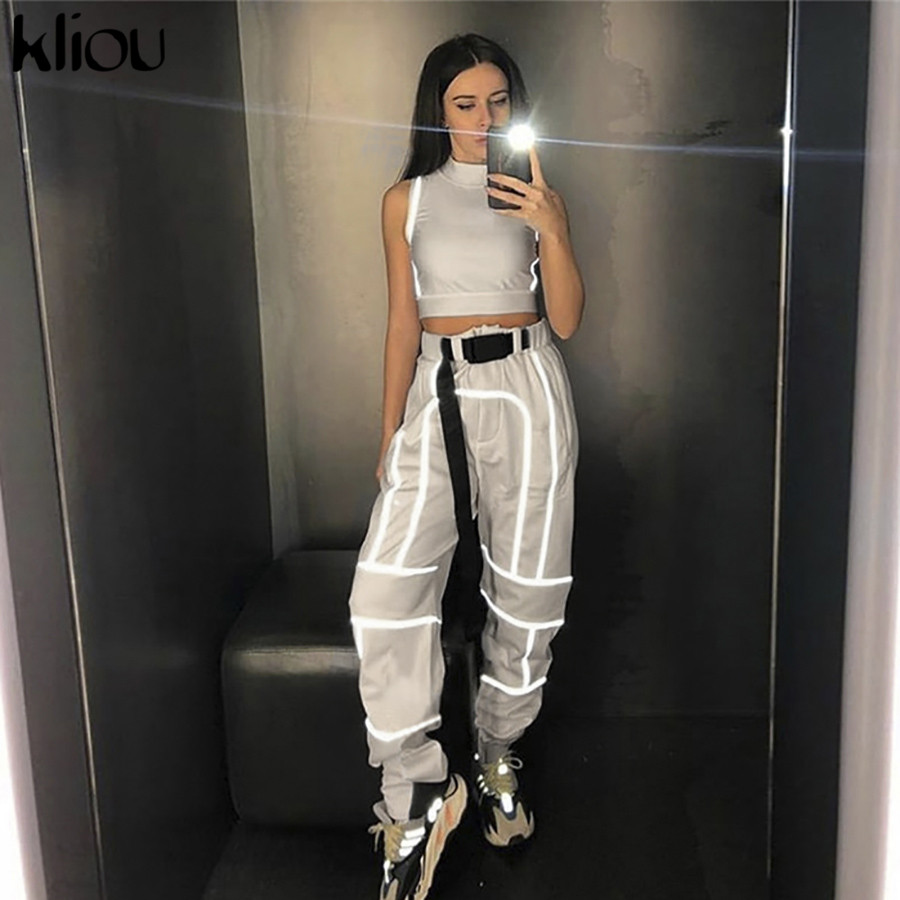 Kliou Women Tank Tops 2019 New Short Turtleneck Sleeveless Top Reflective Striped Patchwork Crop Top Summer Short Sportswear Bra