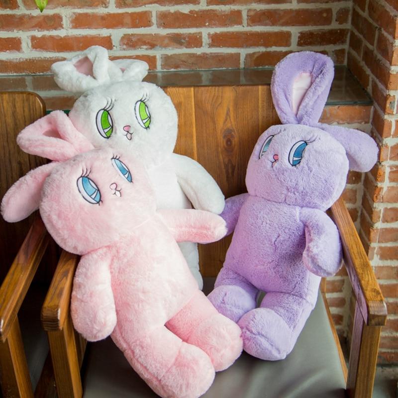 wego Supermīksts samts liels Rabbit plīša rotaļlieta trīskrāsains karikatūra dzīvnieku lelle 75cm