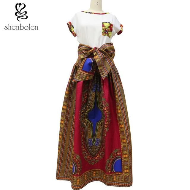 2016 лето африке dashiki макси юбка для женщин ремень традиционный классический батик prining чистого хлопка плюс размер S-5XL