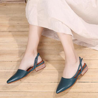 2019 VALLU Leather Shoes Women Sandals Pointed Toes Square Low Heels Back Strap Slingback Sandals