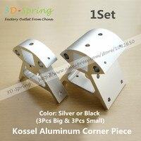 Reprap Kossel All metal Aluminum Corner Piece Silver / Black Frame Vertical Base Delta Top Bottom Vertex for 3D Printer Parts