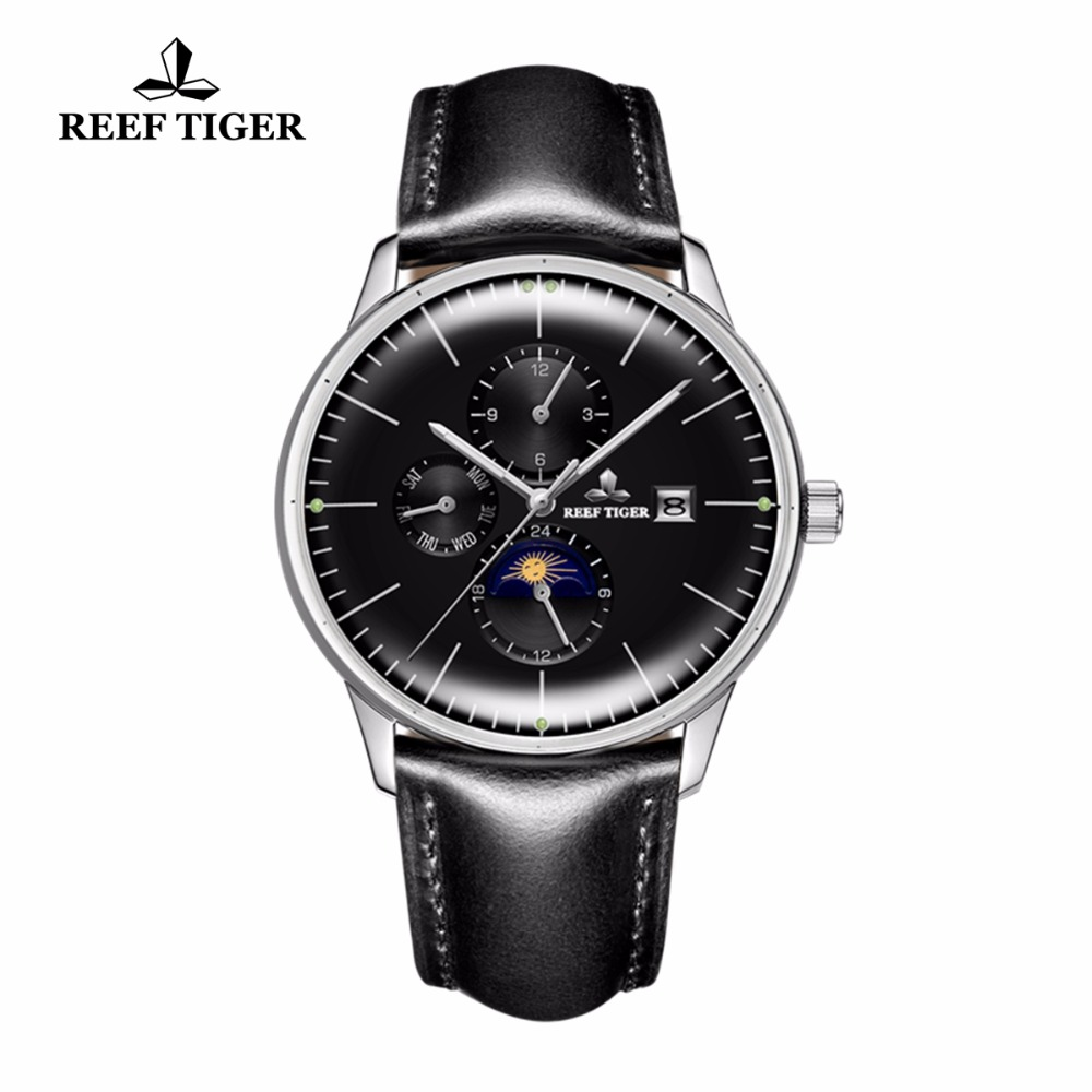 Reef Tiger/RT Mens Fashion Watches Luminous Automatic Watches Date Day Genuine Leather Strap Steel Casual Watches RGA1653 вьетнамки reef day prints palm real teal