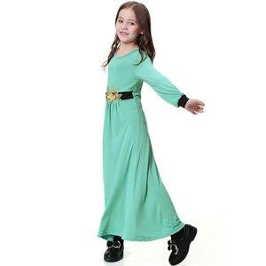 Image 2 - Elatic Trẻ Em quần áo Truyền Thống Thời Trang Đầm Bé Gái Hồi Giáo hồi giáo Dubai tiếng Ả Rập abaya Trẻ Em thoub jubah VKDR1330
