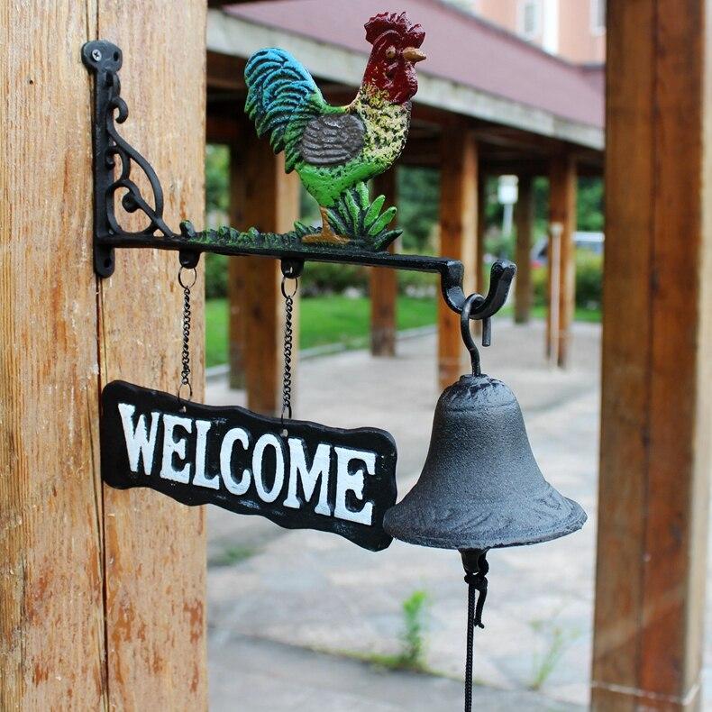 Чугунный металлический петух сарай колокольчик висящий домик сарай ворота забор крыльцо Добро пожаловать обеденный звонок ручная краска с... - 2