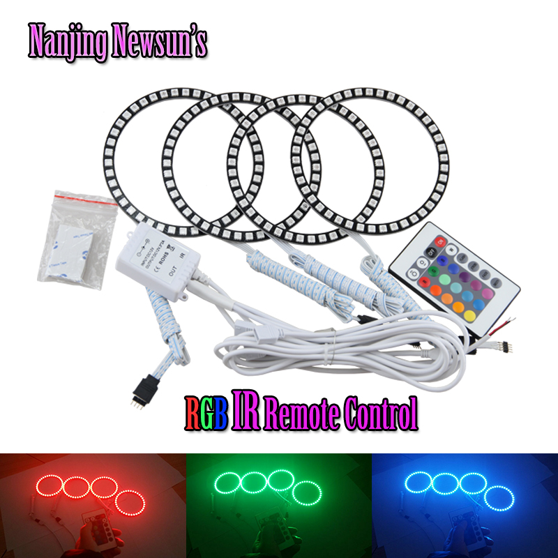 Factory supply DIA 100mm colorful LED Angel eyes 5050 SMD RGB LED Halo Ring kit for Opel Insignia multi-color car headlight kit 4 90mm rgb led lights wholesale price led halo rings 12v 10000k angel eyes rgb led angel eyes for byd for chery for golf4