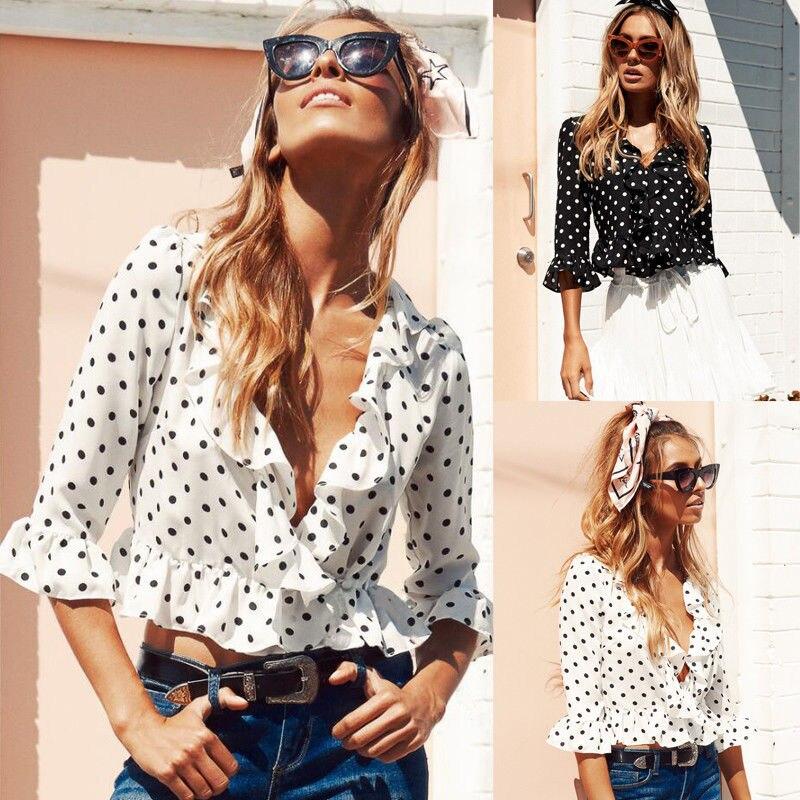 2018 New Womens Tops And Blouses Fashion Half Flare Sleeve Polka Dot Print Chiffon Ruffles Blouses Summer Women Outfits
