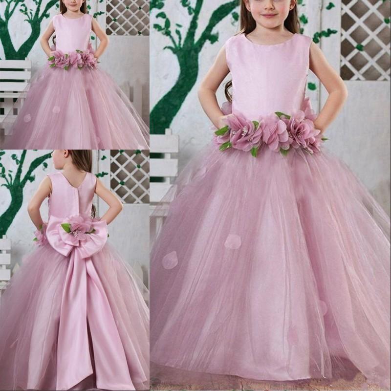 New Design   Flower     Girl     Dress   with Handmade   Flowers   Big Bow Zipper Back O-Neck Sleeveless Designed For   Girls   Birthday Party Longo
