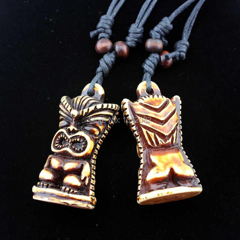 COOLE Männer frauen Imitation Yak-knochen Schnitzte TIKI Anhänger Halskette Tiki mann amulett Geschenk MN613
