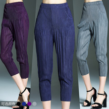Plus Size Pants 2017 Spring Summer Women Clothing Miyake Pleats Solid Elastic Waist Pockets Leggings Pencil