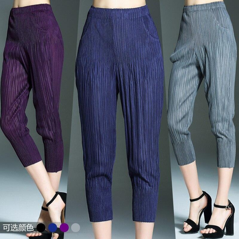 Plus Size Pants 2017 Spring Summer font b Women b font Clothing Miyake Pleats Solid Elastic