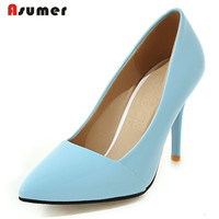 Asumer Solid shallow pu office lady work shoes big size 32 43 thin high heels shoes four seasons woman pumps elegant