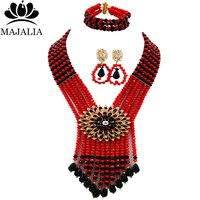 Majalia Fashion Nigerian Wedding African Beads Jewelry Set Black and Red Beads Necklace Bracelet Earrings Jewelry Sets AU031