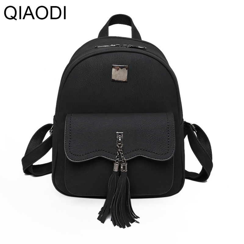 Qiaodi Women Vintage Backpacks School Bag Backpack for Teenagers Girls Fashion Tassel Soft PU Leather High Quality Bagpack