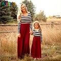 Новый 2017 рукава мать дочь dresse Семьи Сопоставления одежда Полосатый Мама и дочь платье Семья посмотрите наряды