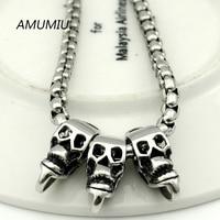AMUMIU gothic metal colar cadeia de caixa de 55 cm 4mm, esqueleto do homem de aço inoxidável jóias para os homens de punk crânios colares HZN110