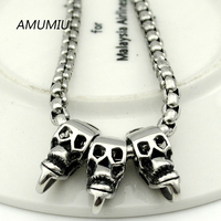 AMUMIU metal gothic necklace box chain 55cm 4mm,man's stainless steel skeleton jewelry for men punk skulls necklaces HZN110