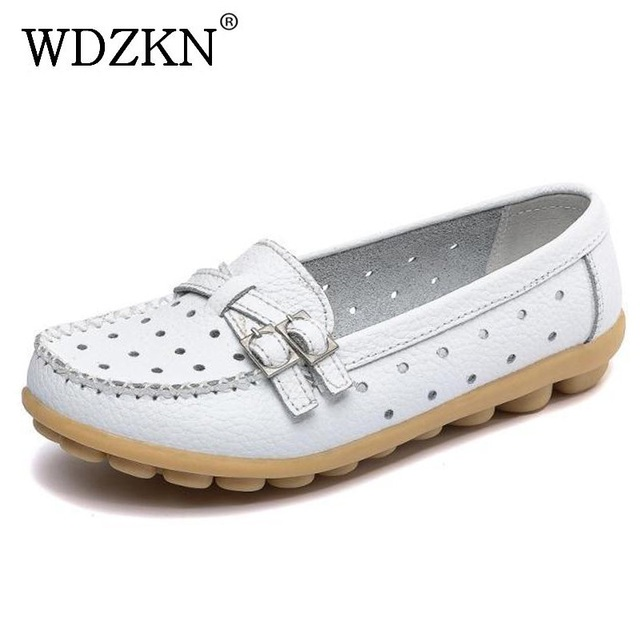 Spring Autumn Flat Shoes Women Casual Shoes Split Leather Flats Buckle Loafers Slip On Soft Women's Flat Shoes Moccasins Size 41