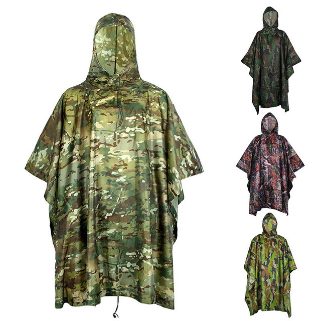 Outdoor Cycling Sports Camping PVC Waterproof Camouflage Hooded Poncho Men Women Riding Climbing Jungle Hunting Gear Raincoat