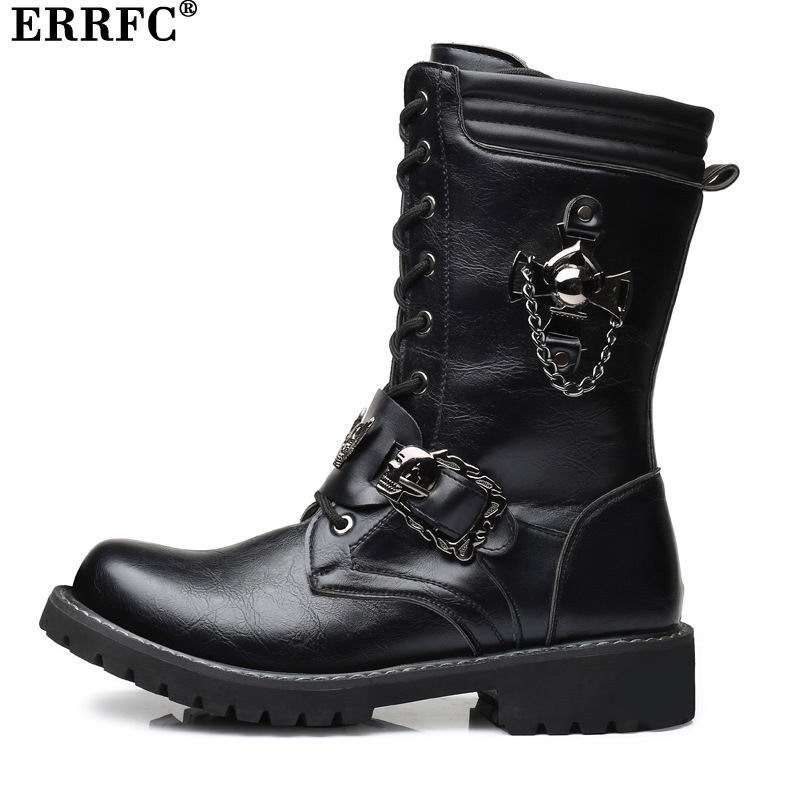 ERRFC Designer Men Black Fashion Boot Lace Up Skull Charm Riding Boot Leisure Work Safety Motorcycle