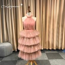 Leeymon 2019 Pink Glitter Prom Dresses Sleeveless