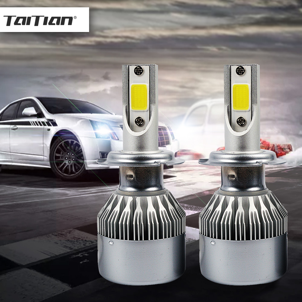 Taitian 2Pcs COB 72W 8000LM 6500K light ice H4 led auto super white H7 car fog light H11 H1 led 12V 9005 9006 24V Truck Bulbs